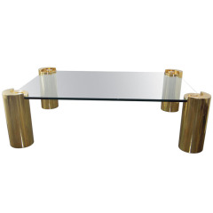 KARL SPRINGER COFFEE TABLE IN BRASS AND GLASS
